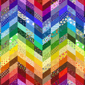 rainbow zigzag cheater quilt