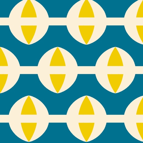 Ringer Blue & Yellow fabric by stoflab on Spoonflower - custom fabric