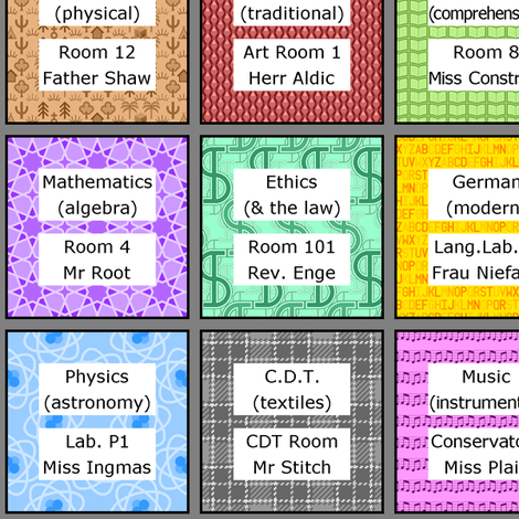class timetable entries fabric by sef on Spoonflower - custom fabric