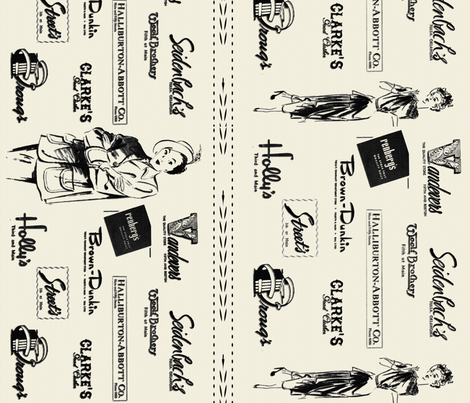 Forties Fashion in Tulsa- Cream fabric by tulsa_gal on Spoonflower - custom fabric