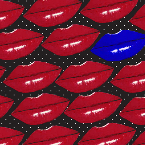 Kiss me I am freezing on polka dot fabric by kociara on Spoonflower - custom fabric