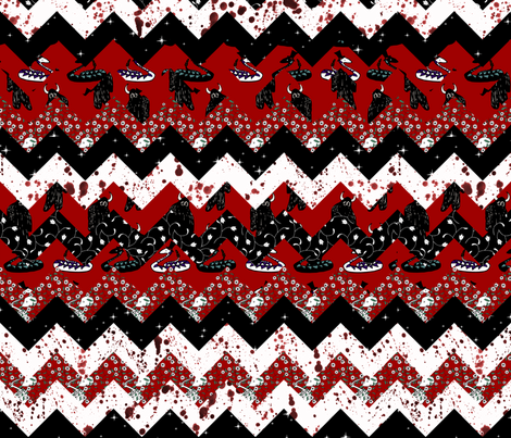Red Night Chevron Quilt fabric by pond_ripple on Spoonflower - custom fabric