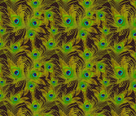 bright green feather fabric by kociara on Spoonflower - custom fabric
