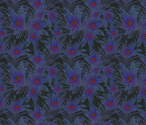 purple feather fabric by kociara on Spoonflower - custom fabric