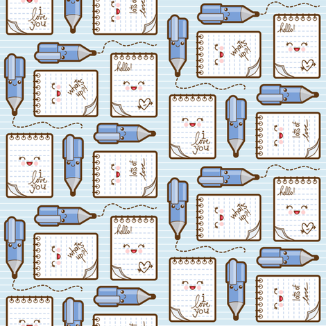 love_notes_blue fabric by woodmouse&bobbit on Spoonflower - custom fabric