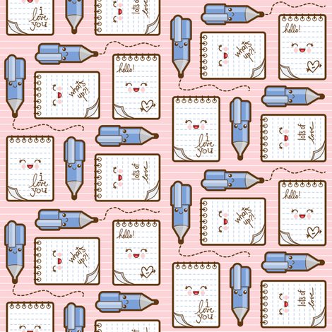 love_notes_pink fabric by woodmouse&bobbit on Spoonflower - custom fabric