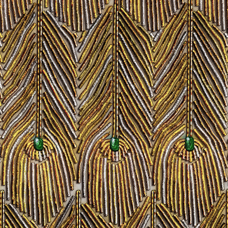 Golden Peacock Feathers fabric by bonnie_phantasm on Spoonflower - custom fabric