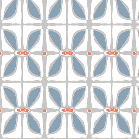 Petals (grey & blue) fabric by pattyryboltdesigns on Spoonflower - custom fabric