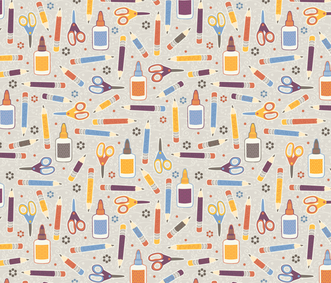 Draw, Cut, Glue fabric by jennartdesigns on Spoonflower - custom fabric