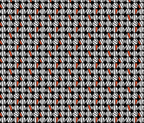 Striped Dot (black, vermillion & white) fabric by pattyryboltdesigns on Spoonflower - custom fabric