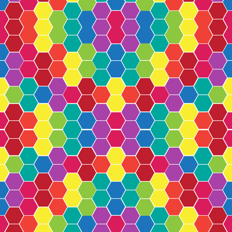 Rainbox Hexagons fabric by studio30 on Spoonflower - custom fabric
