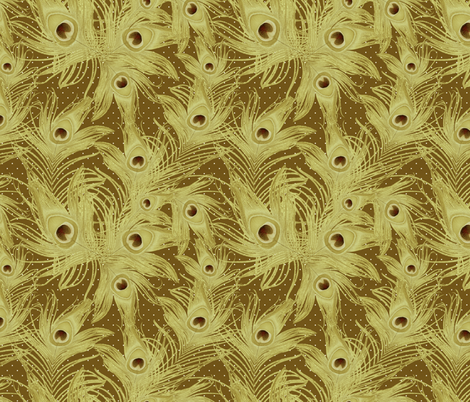 peacock feathers gold fabric by kociara on Spoonflower - custom fabric