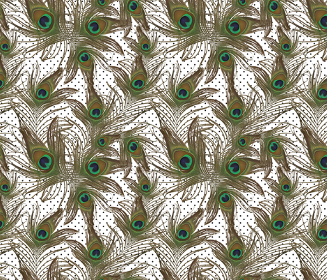 peacock feathers polka dots fabric by kociara on Spoonflower - custom fabric