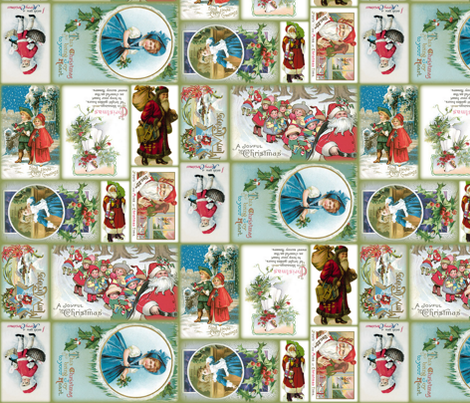 Vintage Christmas Cards ~ multidirectional fabric by peacoquettedesigns on Spoonflower - custom fabric