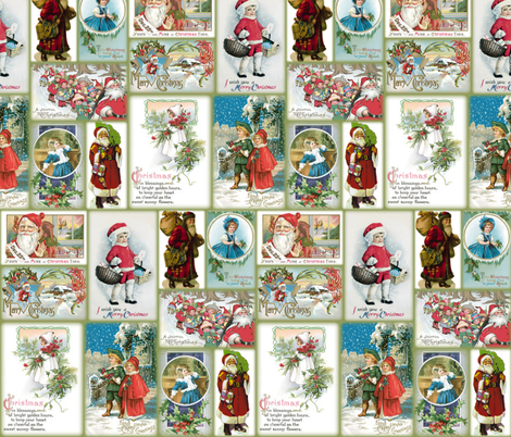 Vintage Christmas Cards fabric by peacoquettedesigns on Spoonflower - custom fabric