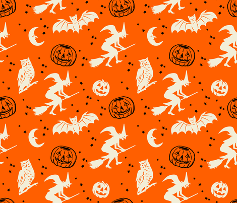 Bats and Jacks ~ Black and Cream on Orange fabric by retrorudolphs on Spoonflower - custom fabric
