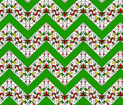 Green and Flower Zig Zag Quilt