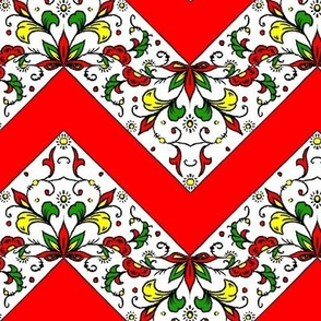 Red and Flower Zig Zag Quilt