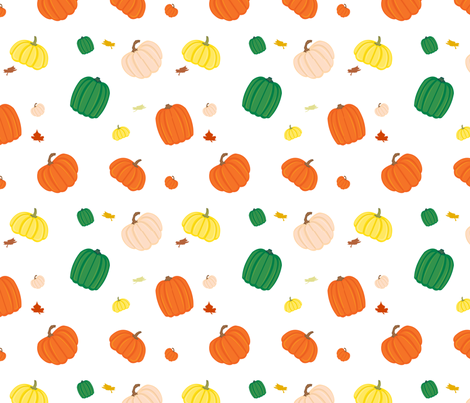 Pumpkin Patch in White fabric by forgotten_fortune on Spoonflower - custom fabric