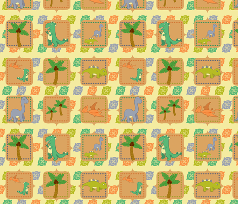 Dinosaurs in the Wild Squares fabric by jubilli on Spoonflower - custom fabric