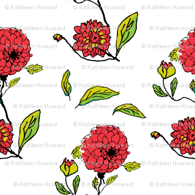 red dahlias white