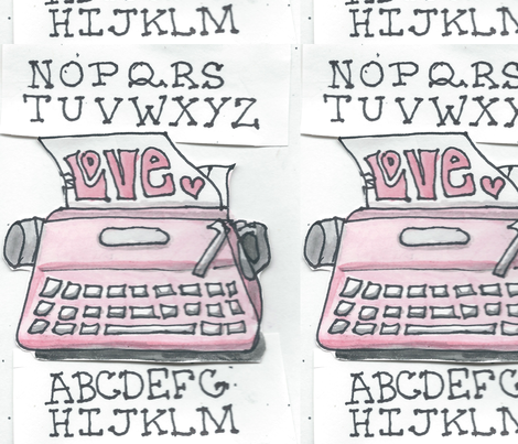 Typewriter_Love fabric by jensmi on Spoonflower - custom fabric