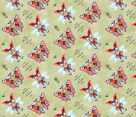 Futterbies and Ladybugs fabric by woodmouse&bobbit on Spoonflower - custom fabric