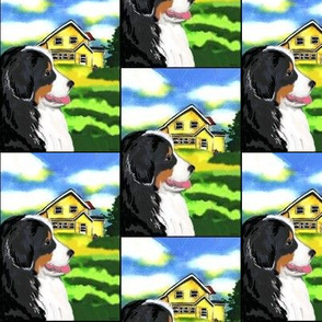 Bernese Mountain Dog and Yellow House fabricHouse