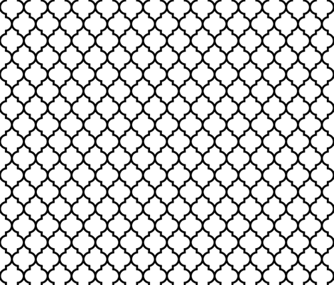 moroccan quatrefoil white with black lattice fabric by spacefem on Spoonflower - custom fabric
