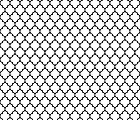 moroccan quatrefoil white with black lattice