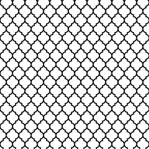 moroccan quatrefoil white with black lattice