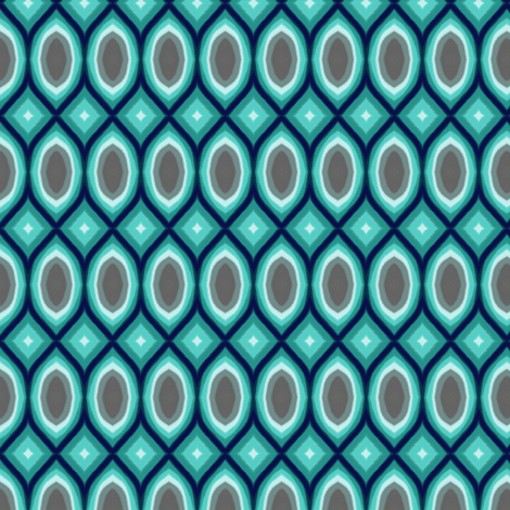 Aqua Teal Blue Diamonds & Ovals & Harlequin fabric by bohobear on Spoonflower - custom fabric