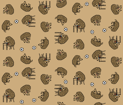 Hedgie's busy day - scattered  fabric by victorialasher on Spoonflower - custom fabric