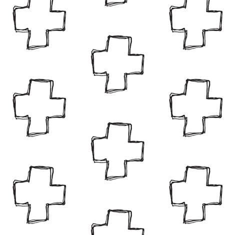 cross sketch fabric by tagkari on Spoonflower - custom fabric