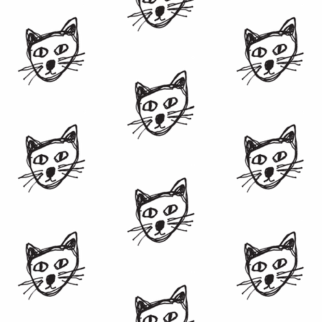 cat sketch fabric by tagkari on Spoonflower - custom fabric