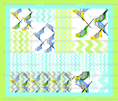 Parakeets Looking at You - Zigzag Cheater Quilt