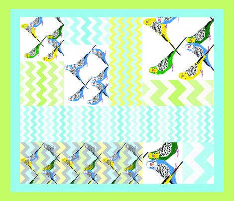 Parakeets Looking at You - Zigzag Cheater Quilt fabric by owlandchickadee on Spoonflower - custom fabric