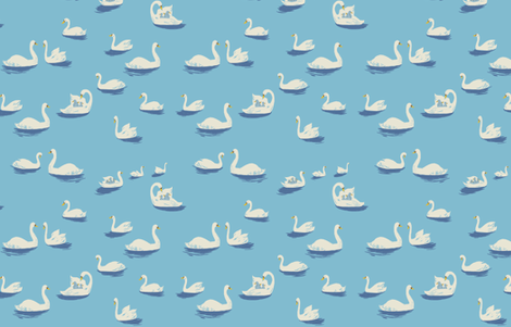 swan_lake_blue fabric by heatherross on Spoonflower - custom fabric