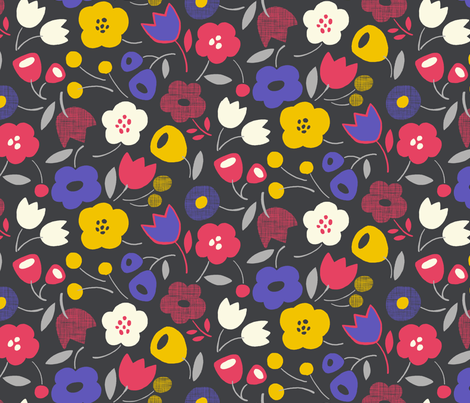 Floral Essence (Charcoal) fabric by leanne on Spoonflower - custom fabric