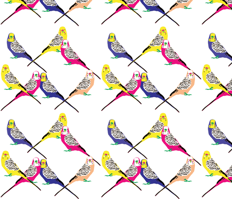 Parakeets Looking at You - Bright fabric by owlandchickadee on Spoonflower - custom fabric