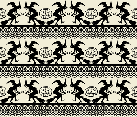 Bewitched ~ Black on Cream fabric by retrorudolphs on Spoonflower - custom fabric