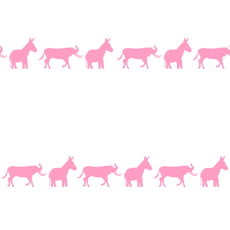 Donkey Elephant Kids - pink on white fabric by smuk on Spoonflower - custom fabric