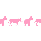 Donkey Elephant Kids - pink on white