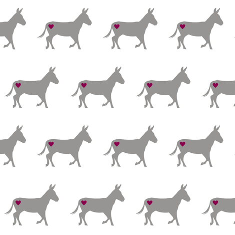 Donkey Love on White fabric by smuk on Spoonflower - custom fabric