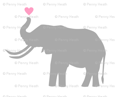 Elephant Love on White