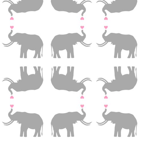 Elephant Love on White fabric by smuk on Spoonflower - custom fabric