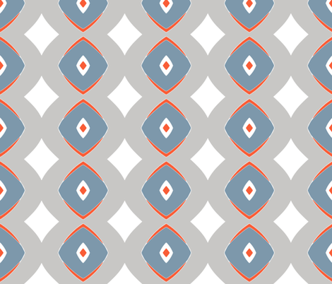 Diamond Dotty  (Vermillion, grey & blue) fabric by pattyryboltdesigns on Spoonflower - custom fabric