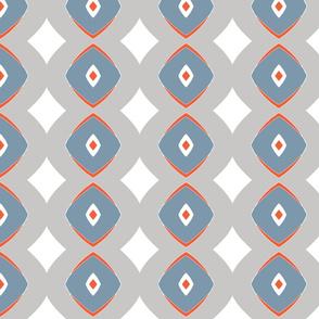 Diamond Dotty  (Vermillion, grey & blue)