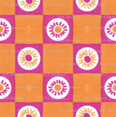 Summer Flower Checkerboard