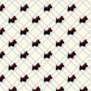 Scottie Dogs on Plaid Background